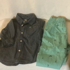 Carter's Boy's Pant Set with Whales & Anchor 24 M